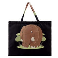 Cute Elephant Zipper Large Tote Bag