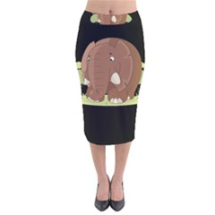 Cute Elephant Velvet Midi Pencil Skirt