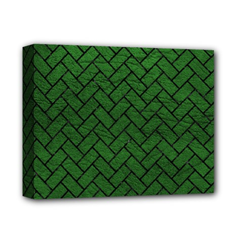 Brick2 Black Marble & Green Leather (r) Deluxe Canvas 14  X 11