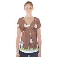 Cute Elephant Short Sleeve Front Detail Top
