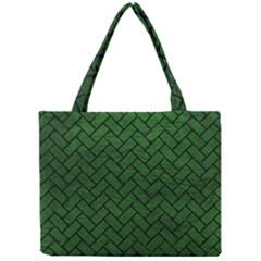 Brick2 Black Marble & Green Leather (r) Mini Tote Bag