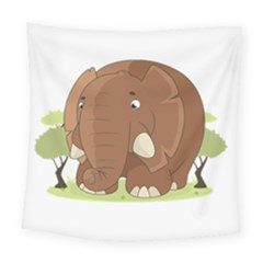 Cute Elephant Square Tapestry (large)