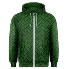 Brick2 Black Marble & Green Leather (r) Men s Zipper Hoodie