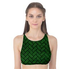 Brick2 Black Marble & Green Leather (r) Tank Bikini Top