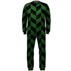 Chevron1 Black Marble & Green Leather Onepiece Jumpsuit (men)