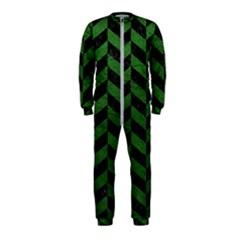 Chevron1 Black Marble & Green Leather Onepiece Jumpsuit (kids)