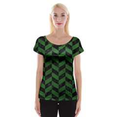 Chevron1 Black Marble & Green Leather Cap Sleeve Tops