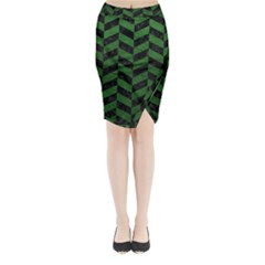 Chevron1 Black Marble & Green Leather Midi Wrap Pencil Skirt