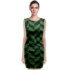 Chevron1 Black Marble & Green Leather Sleeveless Velvet Midi Dress