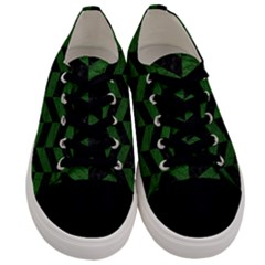 Chevron1 Black Marble & Green Leather Men s Low Top Canvas Sneakers