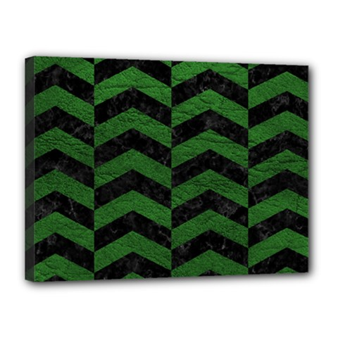 Chevron2 Black Marble & Green Leather Canvas 16  X 12