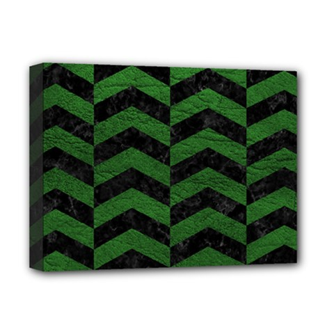 Chevron2 Black Marble & Green Leather Deluxe Canvas 16  X 12