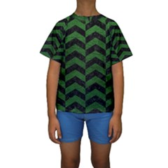 Chevron2 Black Marble & Green Leather Kids  Short Sleeve Swimwear