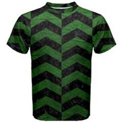Chevron2 Black Marble & Green Leather Men s Cotton Tee