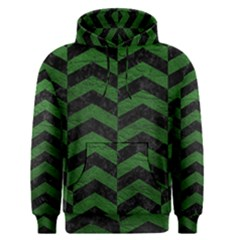 Chevron2 Black Marble & Green Leather Men s Pullover Hoodie