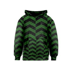 Chevron2 Black Marble & Green Leather Kids  Pullover Hoodie