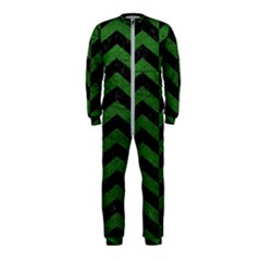 Chevron2 Black Marble & Green Leather Onepiece Jumpsuit (kids)