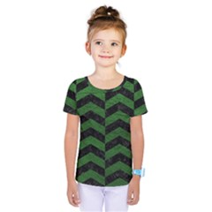 Chevron2 Black Marble & Green Leather Kids  One Piece Tee