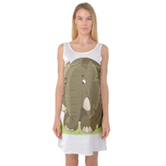 Cute Elephant Sleeveless Satin Nightdress