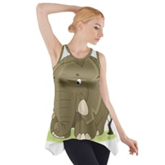 Cute Elephant Side Drop Tank Tunic