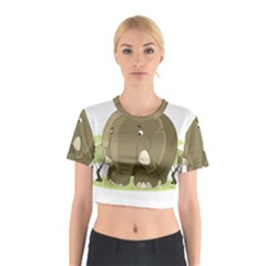 Cute Elephant Cotton Crop Top
