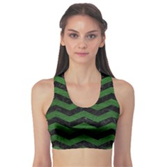 Chevron3 Black Marble & Green Leather Sports Bra