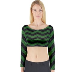 Chevron3 Black Marble & Green Leather Long Sleeve Crop Top