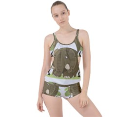 Cute Elephant Boyleg Tankini Set
