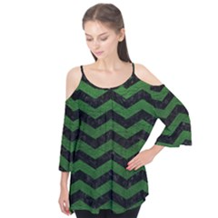Chevron3 Black Marble & Green Leather Flutter Tees