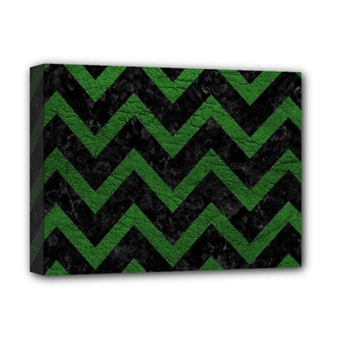 Chevron9 Black Marble & Green Leather Deluxe Canvas 16  X 12