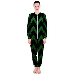 Chevron9 Black Marble & Green Leather Onepiece Jumpsuit (ladies)