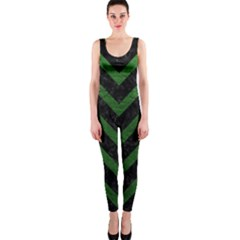 Chevron9 Black Marble & Green Leather Onepiece Catsuit