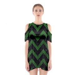 Chevron9 Black Marble & Green Leather Shoulder Cutout One Piece