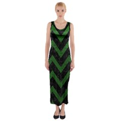 Chevron9 Black Marble & Green Leather Fitted Maxi Dress