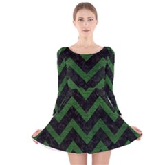 Chevron9 Black Marble & Green Leather Long Sleeve Velvet Skater Dress