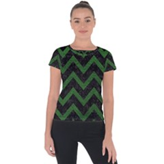 Chevron9 Black Marble & Green Leather Short Sleeve Sports Top
