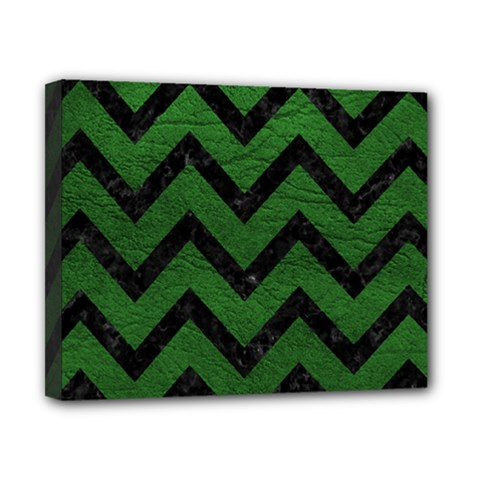 Chevron9 Black Marble & Green Leather (r) Canvas 10  X 8