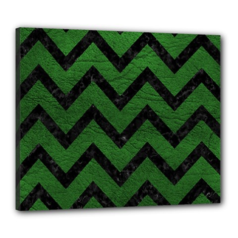 Chevron9 Black Marble & Green Leather (r) Canvas 24  X 20