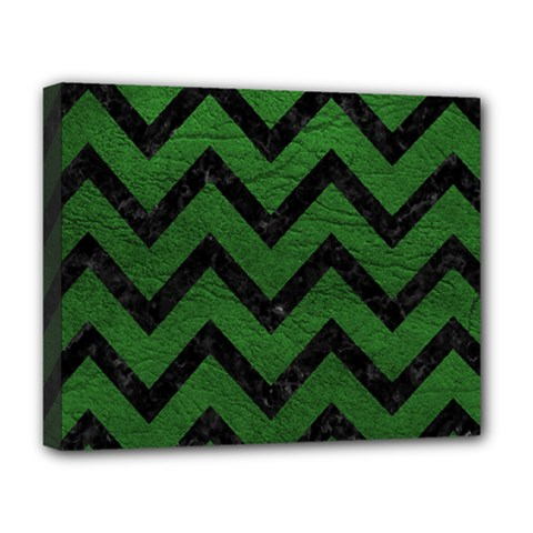 Chevron9 Black Marble & Green Leather (r) Deluxe Canvas 20  X 16