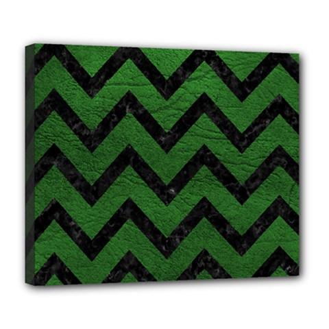 Chevron9 Black Marble & Green Leather (r) Deluxe Canvas 24  X 20