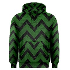 Chevron9 Black Marble & Green Leather (r) Men s Pullover Hoodie