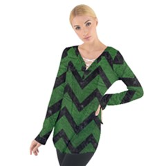 Chevron9 Black Marble & Green Leather (r) Tie Up Tee