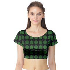 Circles1 Black Marble & Green Leather Short Sleeve Crop Top