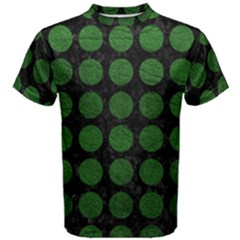 Circles1 Black Marble & Green Leather Men s Cotton Tee