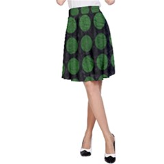 Circles1 Black Marble & Green Leather A Line Skirt