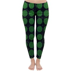 Circles1 Black Marble & Green Leather Classic Winter Leggings
