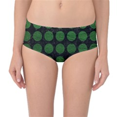 Circles1 Black Marble & Green Leather Mid Waist Bikini Bottoms