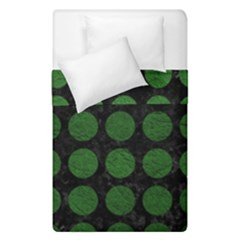 Circles1 Black Marble & Green Leather Duvet Cover Double Side (single Size)