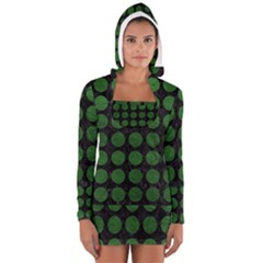 Circles1 Black Marble & Green Leather Long Sleeve Hooded T Shirt