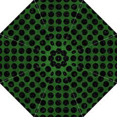 Circles1 Black Marble & Green Leather (r) Folding Umbrellas